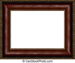 Antique dark wooden picture frame isolated - Antique wooden...