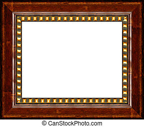 Antique dark wooden picture frame isolated