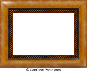 Antique light polished wooden picture frame isolated -...