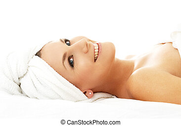 happy spa - picture of happy lady relaxing in massage salon