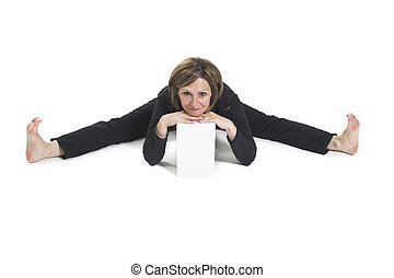 yoga pose with white box - woman doing yoga pose with a...