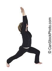 woman doing yoga pose over white BG
