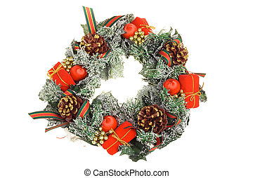 Christmas wreath, isolated on a white background