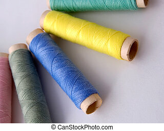 Sewing Thread - Different color sewing thread on light...