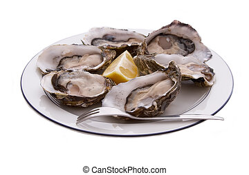 Oysters, Lemon and Fork - Oysters in the shell, lemon and...