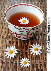 Flower Tea - Tea in antique Chinese bowl with daisy flowers