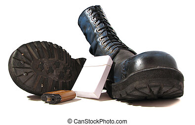 boots and cigarettes - military boots cigarettes and a...