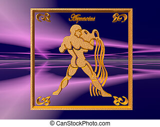 Horoscope, Aquarius - Zodiac horoscope brass logo aquarius,...