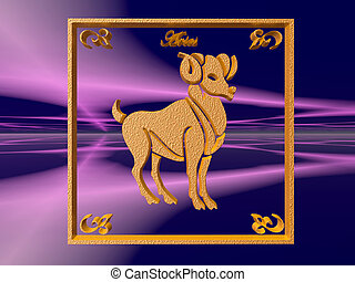 Horoscope, Aries. - Zodiac horoscope brass logo aries, 3D...
