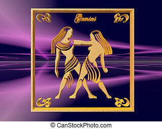 Horoscope, Gemini. - Zodiac horoscope brass logo gemini, 3D...