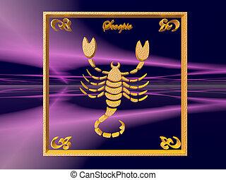 Horoscope, Scorpio - Zodiac horoscope brass logo scorpio, 3D...