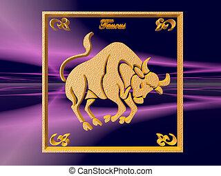 Horoscope, Taurus - Zodiac horoscope brass logo taurus, 3D...