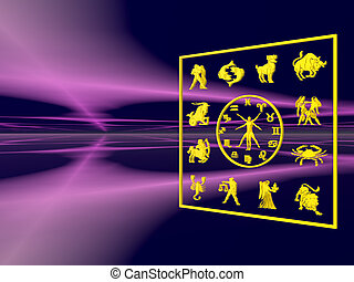 Horoscope, the zodiac 3D illustration, background,...