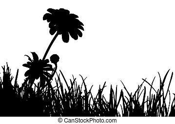 Meadow Silhouette - Black and white silhouette of meadow...
