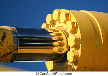 Ram - A close up of a hydraulic ram.