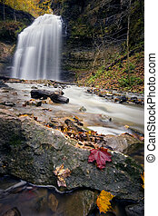 Water Falls - Long exposure of Tiffany Falls in autumn after...