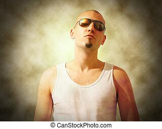 bad guy - bad gangsta looking guy in dark glasses