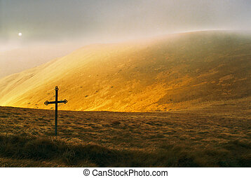 Mountain and cross - Cross on a autumnal mountainside place,...