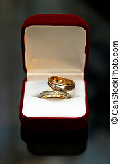 Wedding rings in red box