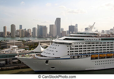 Docked Cruise line with Miami Skyline