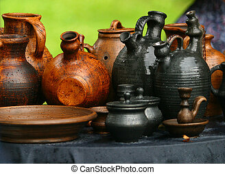 Pots from clay - Damp pots on a grass