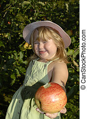 Annie Apple 431 - young girl offering an apple as a gift