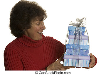 happy woman with gifts stack - happy smiling excited middle...