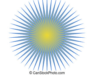 Blue and yellow sun with yellow center and blue radiant...