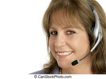 Customer Service Rep Closeup - A friendly, pretty customer...