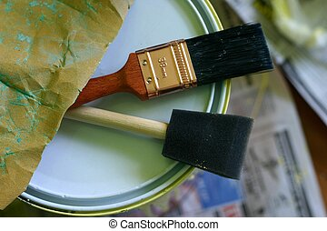 Paint Brush / Tools  - Paint brush, paint can, sandpaper