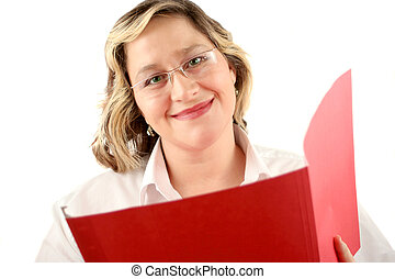 friendly smile - friendly smiling woman with file folder...