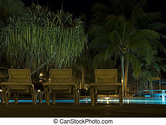 Pool side - Resort pool area at night