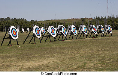 Targets - A row of archery targets