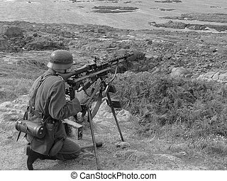 Atlantic Wall - German soldier re-enactment manning his...