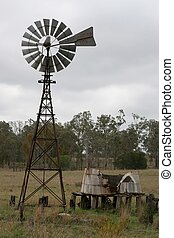 Old Country Windmill - old water windmill and tank