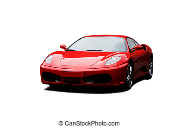 car - red sport car over white