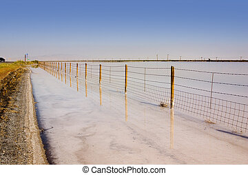 Fence Under Clear Skies - Fence in the Sale Lake in Summer...