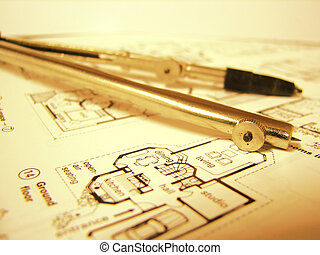 blueprint - real estate blueprint and compasses on it