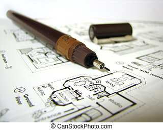 blueprint - a real estate blueprint with pen on it