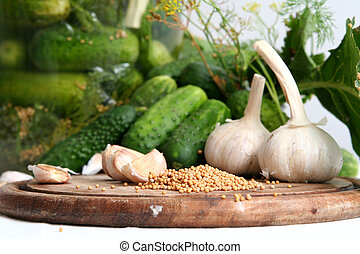 Pickle ingredients - Cucumbers, garlic, dill and other...