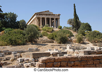 Temple in Agora - Greek Temple in the Agora, Athens, Greece