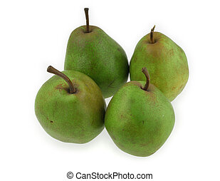 green pears on white