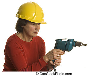 woman with electric drill - woman middle age with electric...