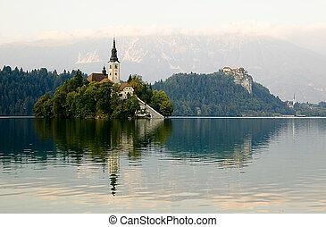Beautifull Slovenia - Slovenia. Evening. Bled lake. Island...