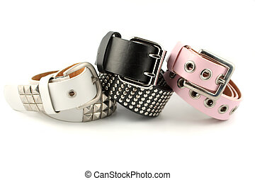 fashion belts - shiny silver studded modern fashionable belt...
