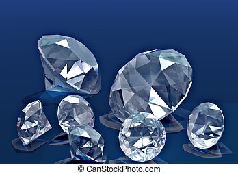 Diamonds - A handful of diamonds thrown onto blue velvet