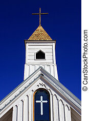 Church - Beautiful old white clapboard church in the Arizona...