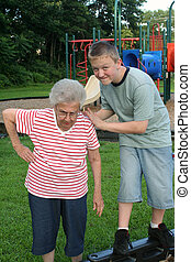 Grannytipping 3 - Teenage boy engaged in horseplay with his...