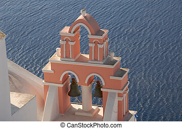 Bell Tower - Pastel colored bell tower in Santorini