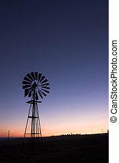 moinho de vento, pôr do sol